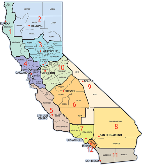 California Map of Caltrans Districts